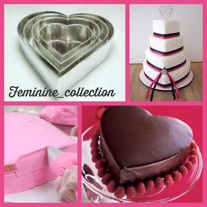 PROFESSIONAL HEAVY DUTY 4 TIER HEART VALENTINE WEDDING CAKE BAKING TINS PANS