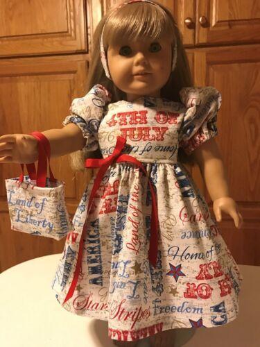 "Tote Bag /& Headband  Patriotic  Multiple Phrases 18/"" Doll Clothes Dress"