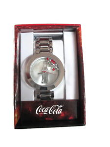 Coca-Cola-Accutime-Floating-Crystal-Contour-Bottle-Watch-38-mm-Silver-tone