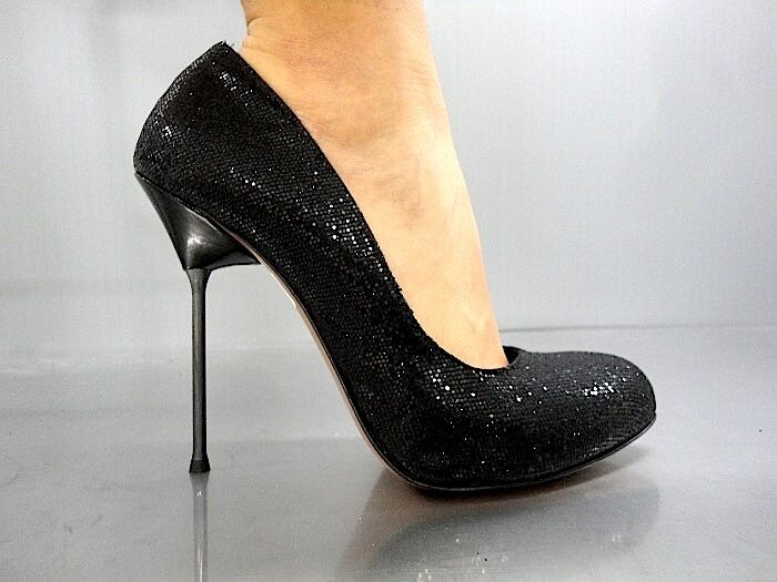 Descuento barato MORI MADE IN ITALY LUXURY METAL HIGH HEELS PUMPS SCHUHE GLITTER BLACK NERO 38