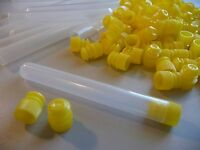 1000 Count 1/2 X 4 Plastic Bead Tube Storage Containers With Yellow Caps,