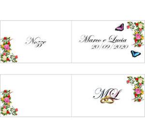 Bigliettini Matrimonio Bomboniere.50 Bigliettini Personalizzati Bomboniere Confetti Matrimonio Nozze