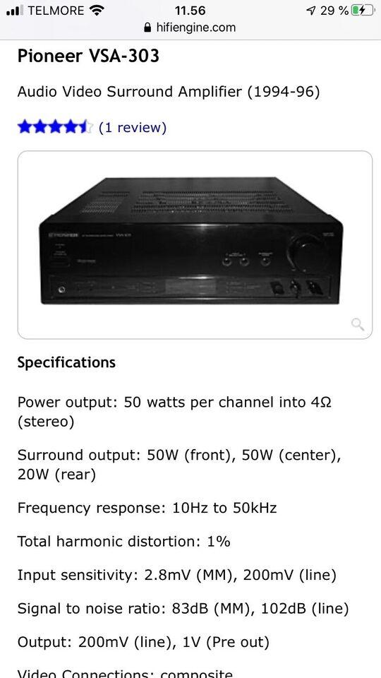 Pioneer, Vsa-303, 5.0 kanaler