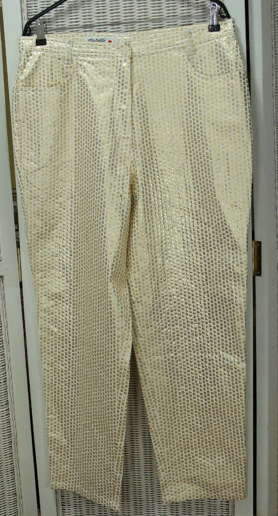 MICHÈLE Vintage Trousers UK20 EU46  Sequins  Print on White Pants Michele Boyard