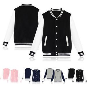 Fashion-Women-Girl-Plain-Varsity-Baseball-Jacket-Coat-College-Casual-Sports-Tops