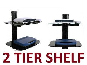 2-LAYER-SHELF-STAND-HD-TV-MOUNT-PS4-XBOX-BLU-RAY-LED-ROGERS-BELL-SHAW-CABLE-BOX