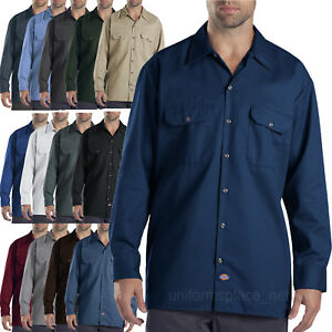Dickies-work-shirts-Mens-LONG-SLEEVE-button-front-Shirt-574-S-to-4X-Solid-Colors