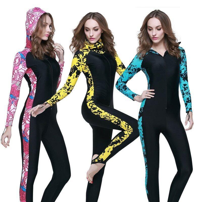 Sbart Women Diving Skin Anti-UV Rush Guard Long Snorkeling Plus Lycra Wetsuit