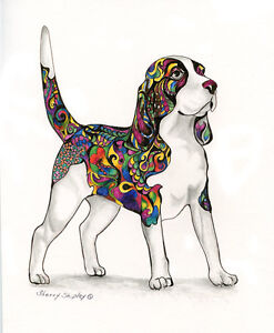 A-Coat-of-Many-Colors-BEAGLE-8X10-DOG-Print-from-Artist-Sherry-Shipley