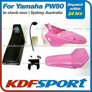 KDF-FOR-YAMAHAX-PW80-PY80-PLASTIC-FENDER-COVER-TANK-PINK-SEAT-BLACK