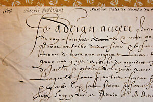 1608-Henry-IV-king-first-valet-autograph-letter-parchment-medieval-gothic-calli