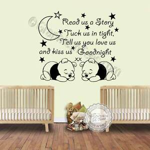 Details about Nursery Wall Sticker For Twins Read Us A Story Baby Bedroom  Wall Quote Decal