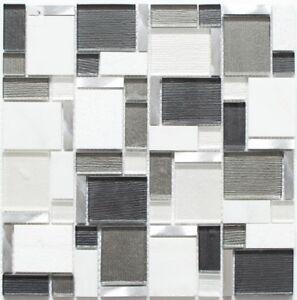 Détails sur Mosaïque translucide combi alu verre pierre blanc gris mur  49-FK02_f  10 plaques
