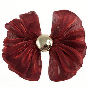 Barrette-Pince-A-Cheveux-Noeud-Papillon-organza-rouge-bordeaux-cabochon-argente
