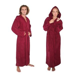 bathrobe turkish cotton terry hooded long full ankle length mens womens robe ebay. Black Bedroom Furniture Sets. Home Design Ideas