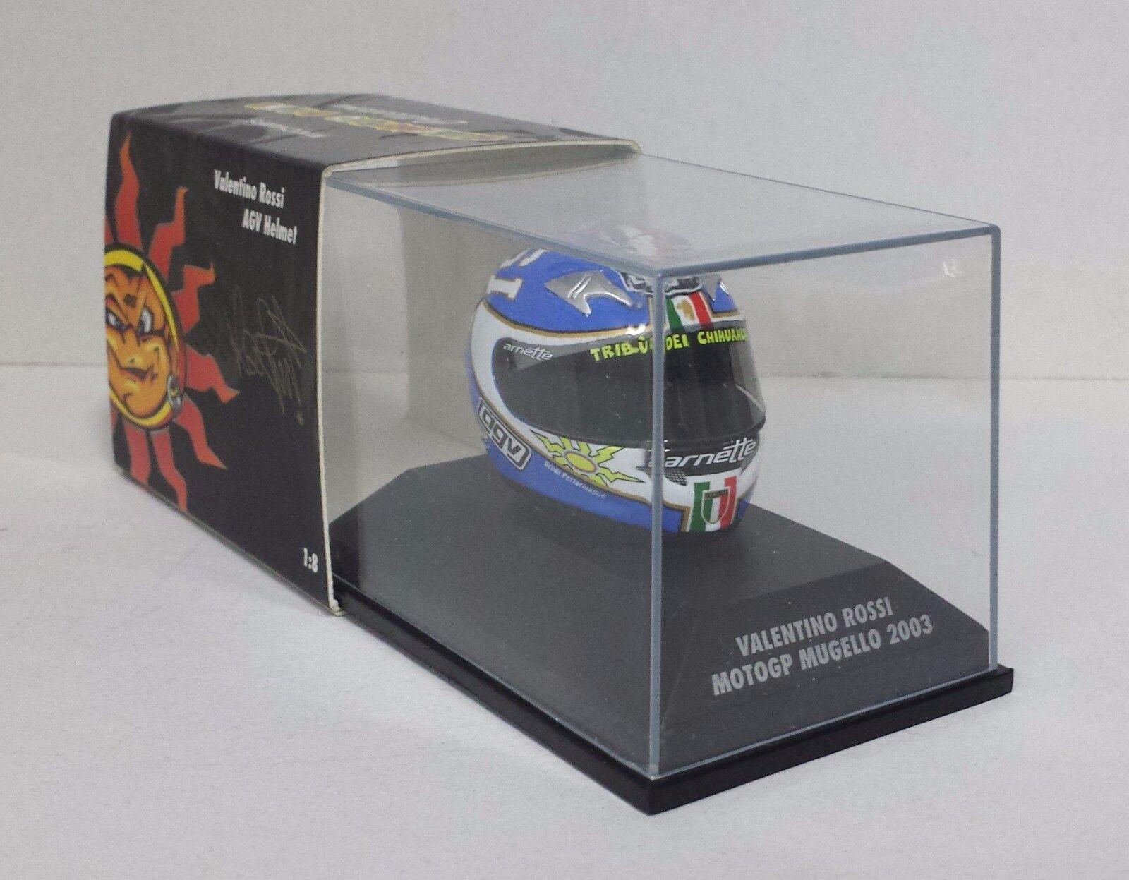 MINICHAMPS VALENTINO ROSSI MODELLINO AGV CASCO HELMET 1/8 MOTO GP MUGELLO 2003