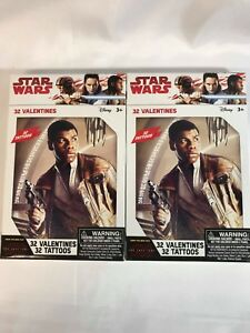 Star-Wars-Valentines-Cards-32-Valentines-w-32-Tattoos-Lot-of-2-Boxes