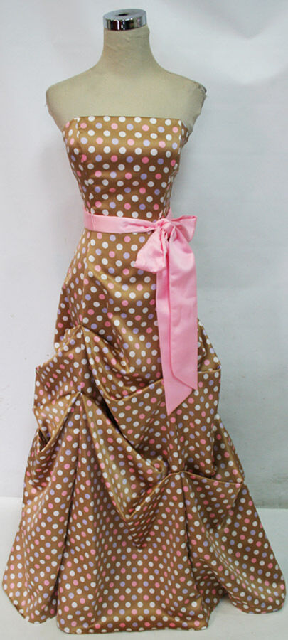 NWT BETSY & ADAM  180 Multi color Polka Dot Prom Gown 8