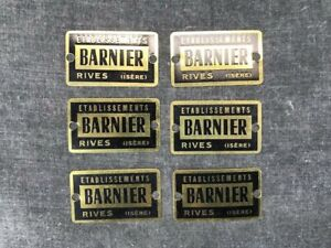 RIVES-ISERE-Lot-de-six-plaques-laiton-usine-atelier-meuble-tiroir-industriel