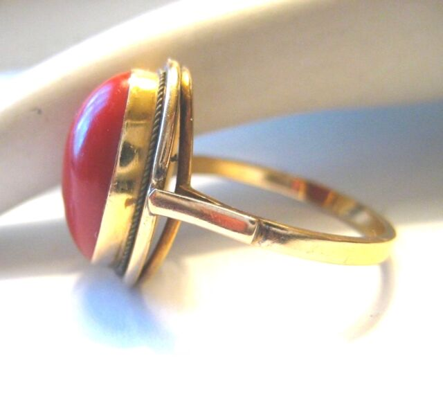 Ladies Vintage 14K Gold Coral Ring Size 7.25  4.4g
