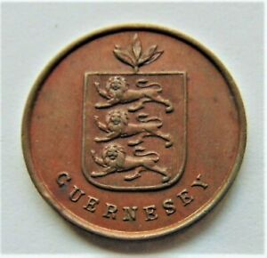 1830-GUERNSEY-1-Double-Brown-grading-About-UNCIRCULATED