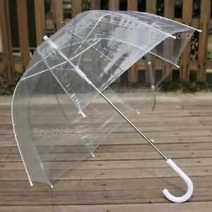 712572271 Image is loading Clear-Transparent-Rain-Umbrella-Parasol-PVC-Dome-Wedding-