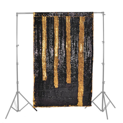 Wedding Creative Sequin Dual Colour curtain Background Black// Gold Backdrop
