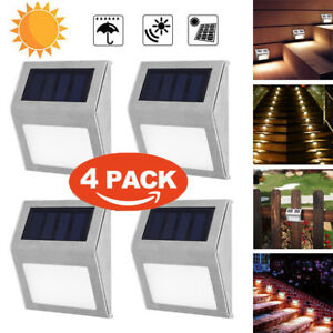 4x-LED-Solarlampe-Wandleuchte-Edelstahl-Garten-Licht-Lampe-Leuchte-Strahler