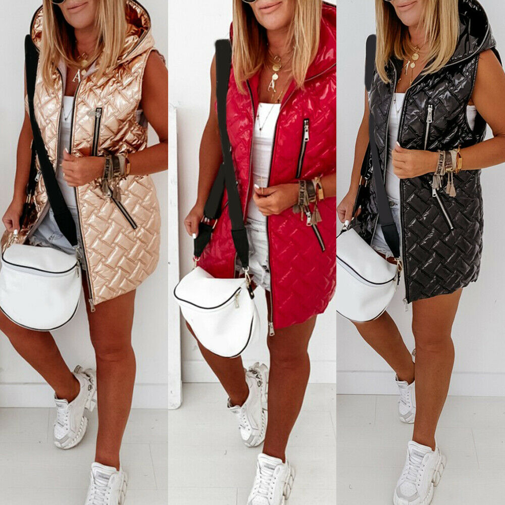 Women Hooded Padded Quilted Gilet Waistcoat Winter Warm Sleeveless Vest Jackets