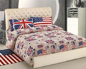 Copripiumino-Lenzuola-Federe-Bandiere-USA-UK-Singolo-Matrimoniale-Bandiera-flag
