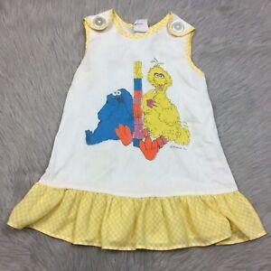 de9f20fcbdd7 Details about Vintage Jcpenney Toddler Girls White Yellow Gingham Sesame  Street Big Bird Dress