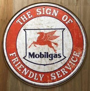 New-Mobilgas-Friendly-Service-Round-Tin-Metal-Sign-NR-Vintage-NEW