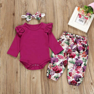 f13eb79e417e 3PCS Toddler Baby Girls Tops Romper Floral Pants Headband Outfits ...