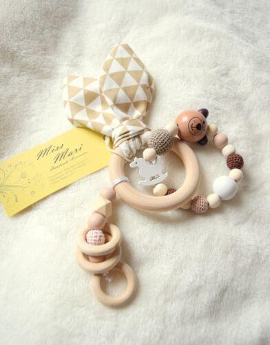 Handmade wooden Teething Toys Baby girl boy gift Christmas