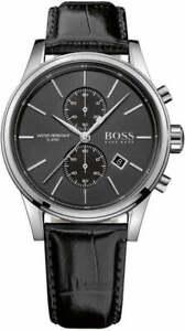 Hugo-Boss-Men-039-s-Black-Leather-Band-Steel-Watch-1513279