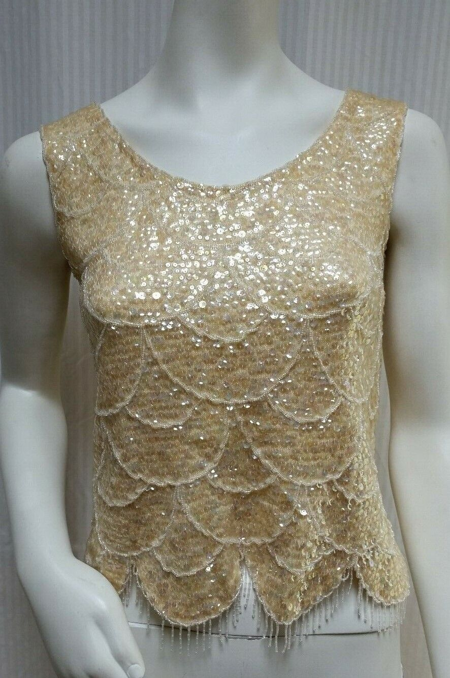 Size 38 Medium Vintage 1960/'s Yellow Gold Beaded Sequin Cocktail Party Sleeveless Sweater Top