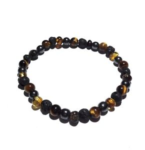 Adult-Rock-Star-Baltic-Amber-Tigers-Eye-Hematite-Lava-Volcanic-Stone-Bracelet