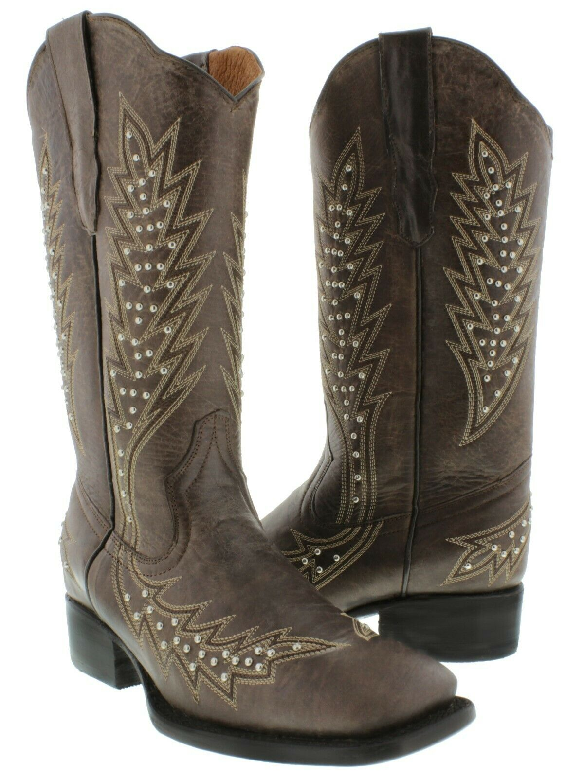 Womens Brown Studded Cowgirl Boots Silver Genuine Leather Square Toe