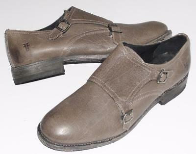 FRYE~NWOB~$298.00~GRAY~LEATHER *JONES DOUBLE MONK-STRAP* OXFORD LOAFERS SHOES~9