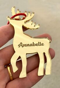 Personalised-Gold-Mirror-Engraved-Acrylic-Reindeer-Christmas-Tree-Decoration
