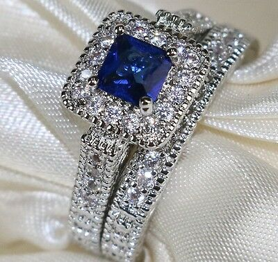 Bridal Sets 10KT White Gold Filled 1CT Princess Sapphire CZ Women's Wedding Ring