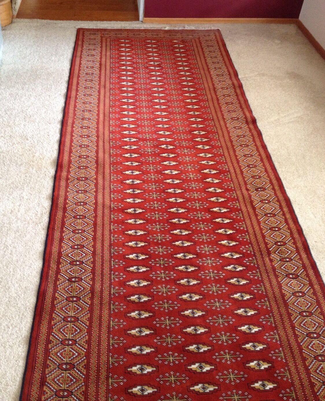 Turkoman Runner Rug Carpet 3 1 2 feet x 12 1 2 feet Hand Knotted Wool