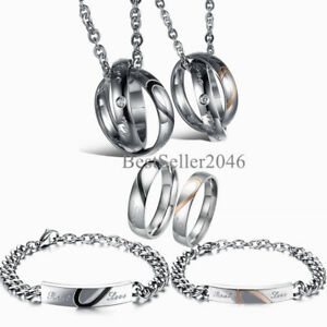 7c808fdc23 Image is loading Real-Love-Matching-Heart-Stainless-Steel-Couple-Necklace-