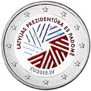 Lettland-2-Euro-EU-Ratspraesidentschaft-2015-bankfrisch-Gedenkmuenze-in-Farbe