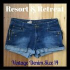Vintage Denim Festival Shorts, Zip Detail Preloved, Size 14, Great Condition