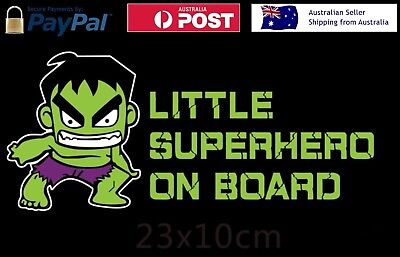 "/""LITTLE SUPER HERO ON BOARD/"" baby on board Sticker Hulk Batman Iron man Marvel."