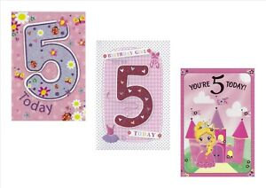 Age 5 Girl Birthday Card Princess Castle Flowers Butterfly Juvenile