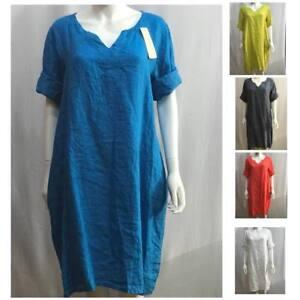95e4381fb07 New Plus Size WOMEN Italian Lagenlook Plain Long Boho Pockets Linen ...