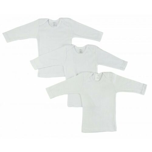 3 Pack Baby Long Sleeve T-Shirt White Rib Stretch Knit Cotton Infant Clothes Top