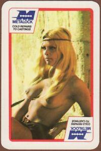 Playing-Cards-1-Single-Card-Old-Vintage-METALOCK-Advertising-Model-Girl-Lady